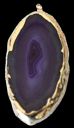 Deep Purple Agate Slice Pendant