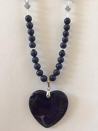 Blue Sandstone Beaded Necklace