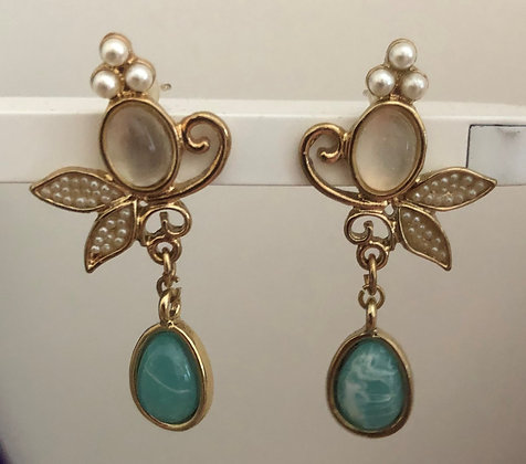 Statement Light Blue Round Dangle Earrings