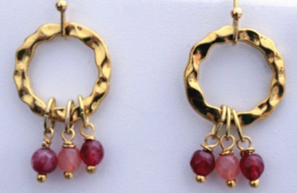 Brass Hoops Earring with Small Beads