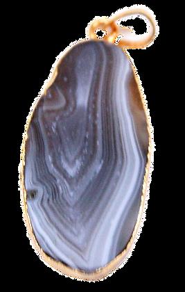 Long Grey Agate Slice Pendant