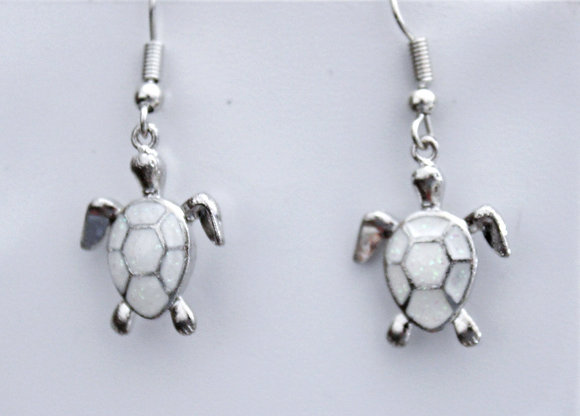 Silver Opal Turtle Dangle Earrings Charms