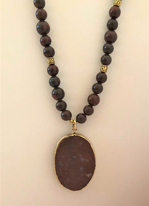 Blood Red Jasper Agate Beaded Necklace with Pendant