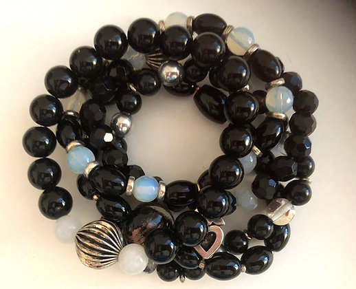 Multi Black Beaded Bracelet, Shades of Black Strands