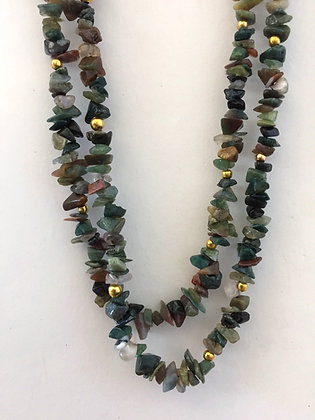 Two Strand Green Agate Bead Chips Necklace