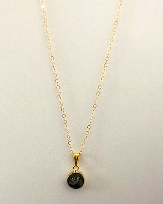 Little Round Abalone Chain Pendant Necklace