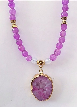 Pink Beaded Necklace with Druzy