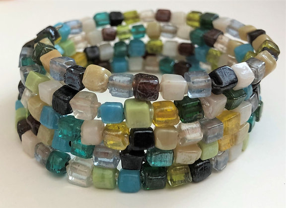 Five Layered Frosted Glass Beaded Bracelet