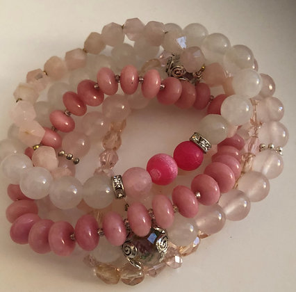 Multi Pink Beaded Bracelet, Shades of Pink Strands