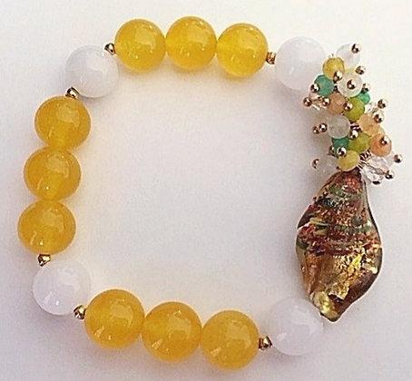 Yellow & White Beaded Stretch Bracelet