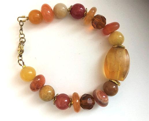 Sea Glass Beaded Focal Bracelet