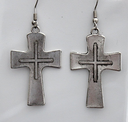 Carved Tibetan Silver Earrings Charms