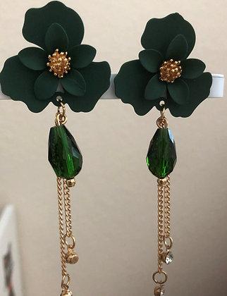 Green Metal Floral Flower Drop Earrings