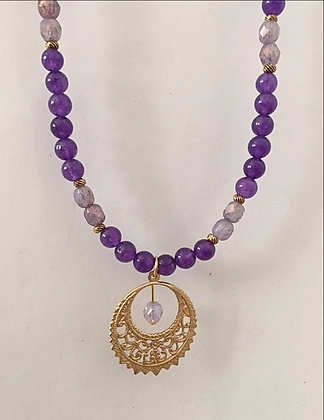 Purple Amethyst Beaded Necklace