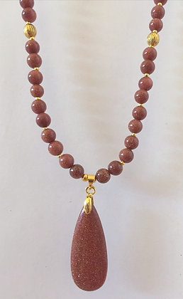 Gold Sand Stone Necklace