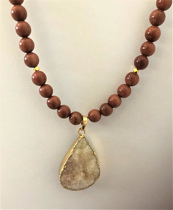 White Druzy Pendant with Golden Sandstone Beads Necklace