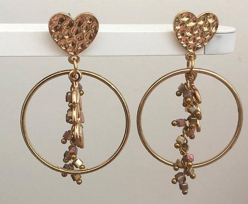 Hoop Round Heart Dangle Earrings