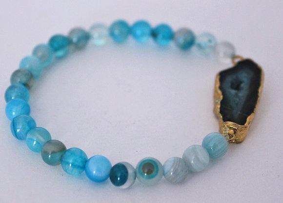 Teal Glass Stretch Beaded Bracelet