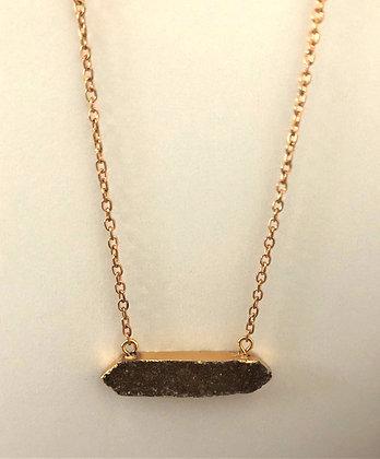 Long Brown Druzy Pendant Chain Necklace