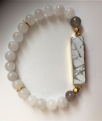 White Beaded Agate Stretch Bracelet with white Turquoise Pendant