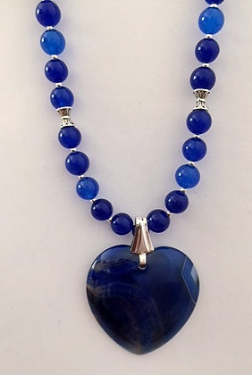 Blue Beaded Necklace with Heart