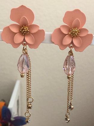 Metal Floral Flower Drop Earrings