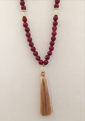 Deep Red Jade Beaded Necklace