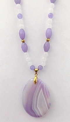 Lavender Glass Beaded Necklace