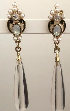 Clear Glass  Long Statement  Dangle Earrings
