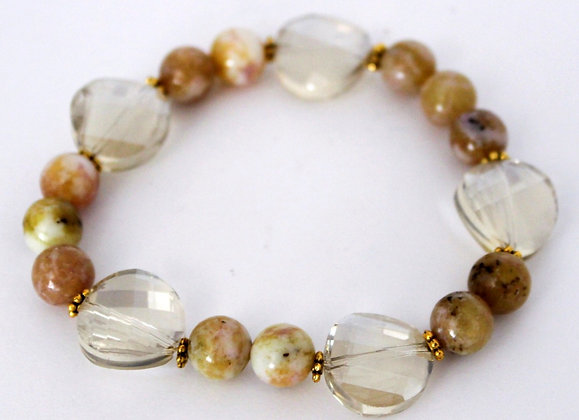 Beaded Agate and Glass Stretch Bracelet