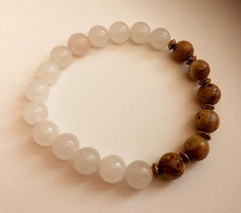 White Quartz and Feldspar Beaded Stretch Bracelet