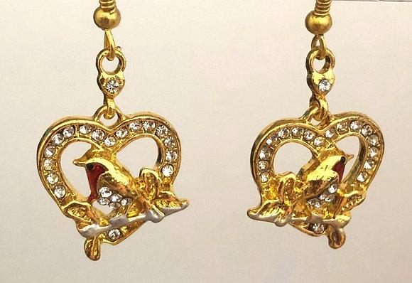 Bird in Heart Brass Earrings
