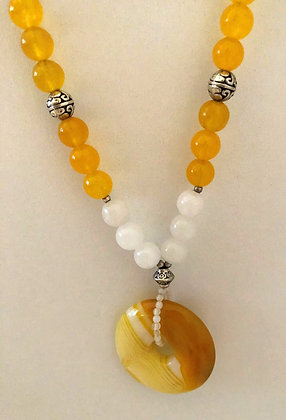 Yellow Agate Donut Pendant Pendant Necklace