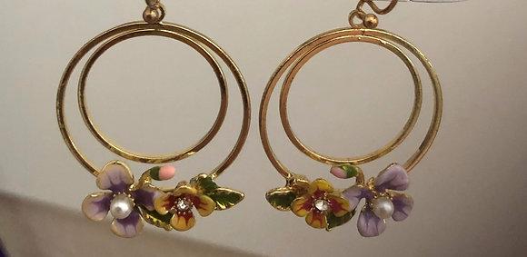 Metal Round Circle Hoop Flowers Drop Earrings
