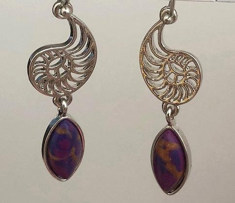 Statement Purple Marble Drop Earrings