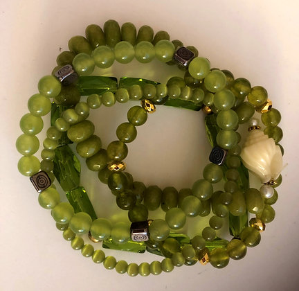 Multi Light Greens Beaded Bracelet, Shades of Chartreuse Strands