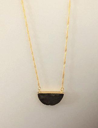 Labradorite Half Circle Pendant Necklace