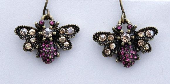Pink Rhinestones Bee Hornet Drop Earrings