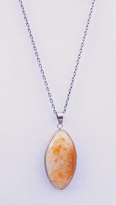 Chain Necklace Orange Oval Agate Pendant