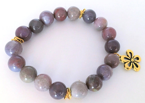 Beaded Agate Bracelet with Flower