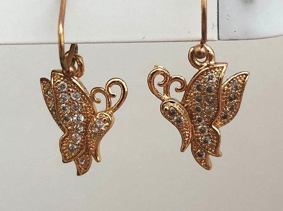 Brass Butterfly Butterfly Rhinestone Drop Earrings