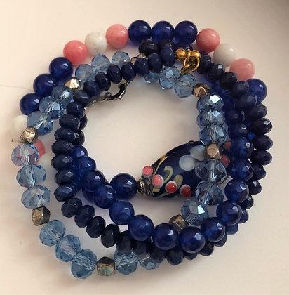 Multi Dark Blues Beaded Bracelet, Shades of Blues Strands