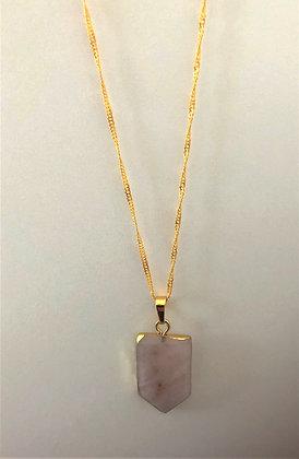 Pink Rose Quartz Pentagon Chain Necklace