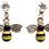 Thumbnail: Bumble Bees Drop Earrings with Rhinestones