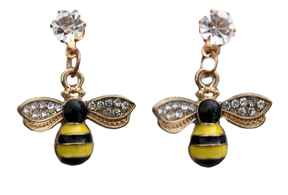 Bumble Bees Drop Earrings with Rhinestones