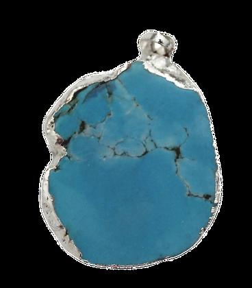 Turquoise Druzy Round Pendant