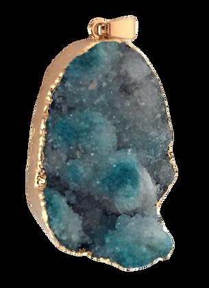Blue Teardrop Druzy Pendant
