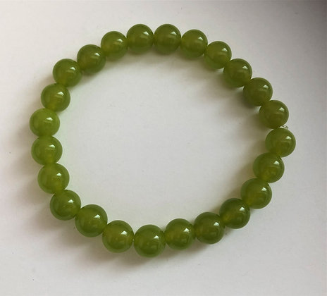 Nephrite Jade Stretch Healing Mediation Stone Bracelet