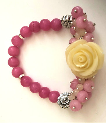 Pink Beaded Agate Stretch Bracelet with Glass Pendant