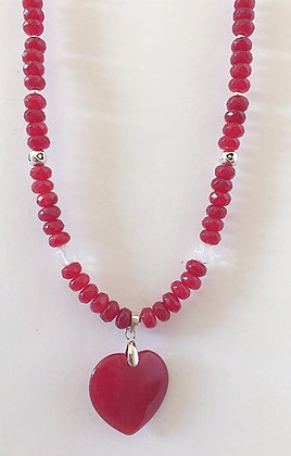 Ruby Rondelle Heart Necklace